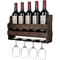 OROPY Wall Mounted Wine Rack and Glass Holder, Rustic Wooden Wine Storage Display Shelf, for Kitchen, Dining Room, Bar, Home & Kitchen Décor, Fully Assembled