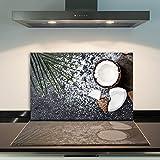 DAMU Ceranfeldabdeckung 1 Teilig 80x52 cm Herdabdeckplatten aus Glas Kokosnuss Braun Weiß Elektroherd Induktion Herdschutz Spritzschutz Glasplatte Schneidebrett