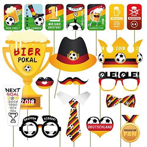 int!rend Fotomasken für fußballbegeisterte Deutschland Fans I für die WM I 19 teiliges Set für tolle Fußball Fotos I Fanartikel I ()