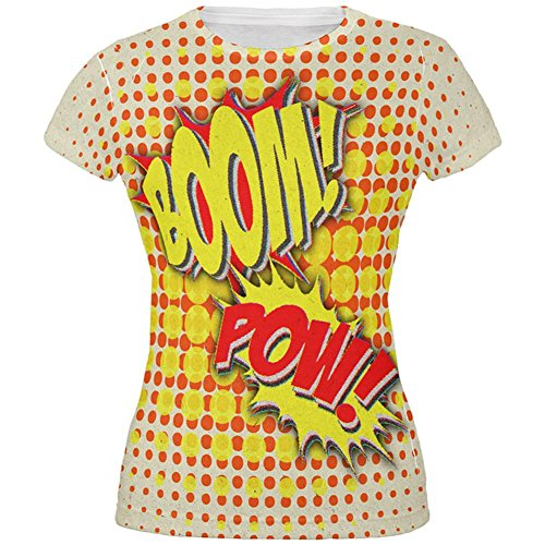 Halloween Boom Pow Vintage Comic Book Kostüm aller Junioren T Shirt Multi (Of Kostüm Sound Design Music)