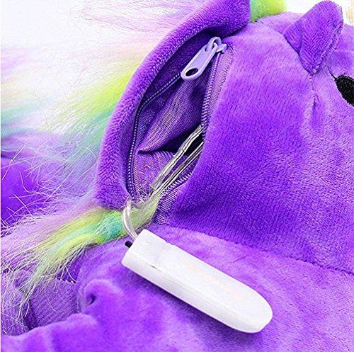 Magike Pantoufles Hiver en peluche licorne LED Chaussons Intérieur Chaud Antidérapants Licorne Chaussons Unisexes Femmes Hommes Enfants Taille Unique Violet