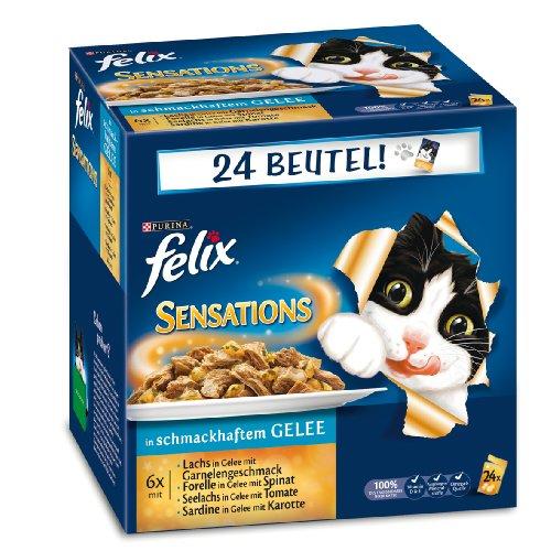 Preisvergleich Produktbild Purina Katzenfutter Felix Sensations Fisch Mix, (24 x 100 g)