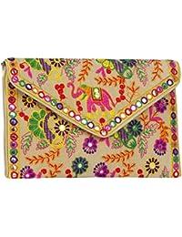 Rajasthani Jaipuri Bohemian Art Sling Bag Foldover Clutch Purse