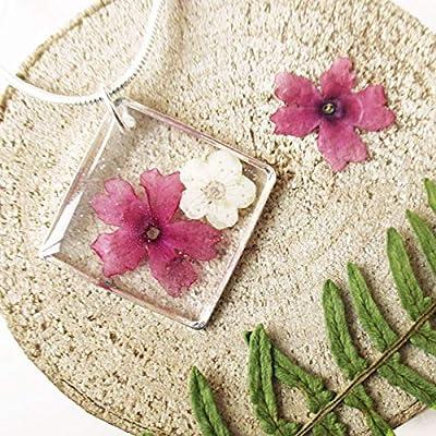 Pendentif Éclat de Rose Ivoire en résine et fleurs - Bijou nature Collier en fleurs séchées argent 925 collier végétal