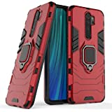 Dual Layer Magnetic Ring Kickstand Armor Case Shockproof Soft TPU & Hard PC Back Cover for Xiaomi Redmi Note 8 Pro - Red