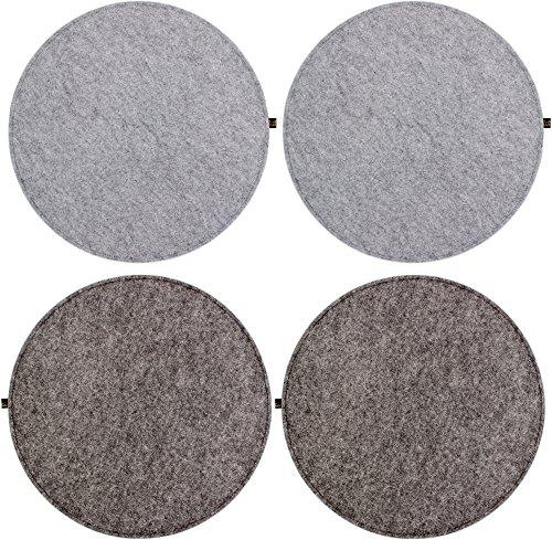 4er Set Filz Sitzkissen rund 35cm, 2-farbig dunkelgrau / graumeliert zum Wenden. Gepolstert, bei 30°C waschbar, für Innen und Outdoor. Original Luxflair.