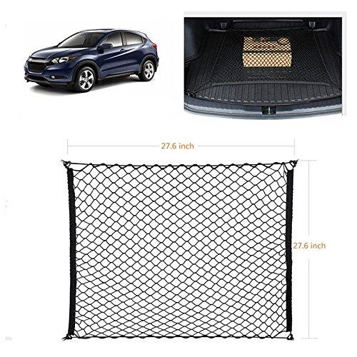Ruesious Verstellbares, elastisches Hochleistungs-SUV-Trunk-Netz - Universell dehnbares Cargo-Netz mit Haken | Organizer, Lagerung, Mesh, Nylon, Bungee | für Auto, SUV, Van-Schwarz
