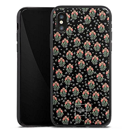 Apple iPhone X Silikon Hülle Case Schutzhülle Steinrohner Tigerlily Blumen Silikon Case schwarz