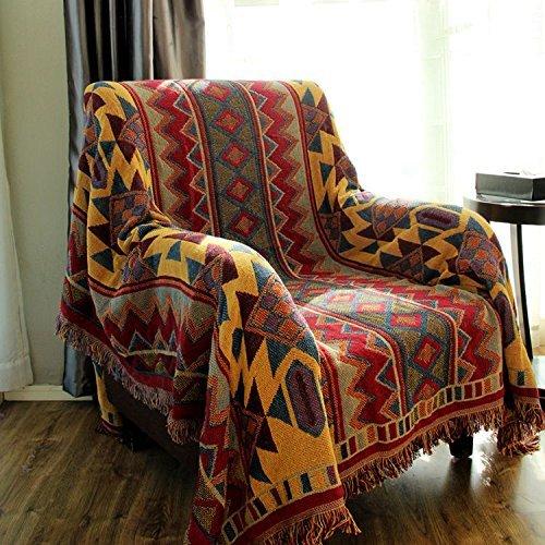 LELVA? Bohemian geometrischen Mustern Überwurf Decke gewebt, wendbar Tagesdecken Boho Zimmer Decor Strand Decke, Baumwolle, rot, 70 X 86 inch -