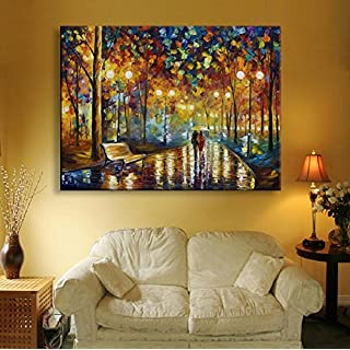 LJ&L Night rain street, LED light painting inkjet printing oil painting, suitable for home living room bedroom Wall art decorative painting,1pc,13.7*19.6inch