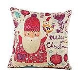 Miya@ 1 Stück hochwertige Kissenbezug Weihnachtsmann Nikolaus, aus Baumwoll und Leinen Sofakissen Couch Kissenbezug Geburtstagsgeschenk Hochzeitgeschenk Weinachtsgeschenk