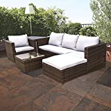 Dripex PE Rattan Garden Patio Poolside Outdoor Furniture Set Luxury Comfort Cushioned Wicker Sofa And Table (5-Seater)