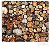 Wallario Herdabdeckplatte / Spritzschutz aus Glas, 2-teilig, 60x52cm, für Ceran- und Induktionsherde, Dunkler Holzstapel rund