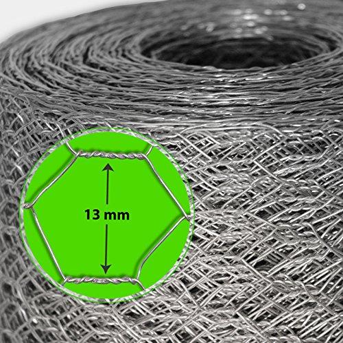 Grillage pour jardin casa pura® clôture zingué | tailles au choix | diamètre de maille 13mm | résistant aux intempéries | bricolage, 100cmx25m