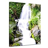 Kunstdruck - Kleiner Wasserfall - Bild auf Leinwand - 90x120 cm 1 teilig - Leinwandbilder - Bilder als Leinwanddruck - Landschaften - Natur - Bachlauf