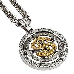 Idea Regalo - 18 K Placcato Oro americani hip-hop Rapper uomini/donne dollaro denaro Ciondolo Collana 80 CM catena cubana Jewelry