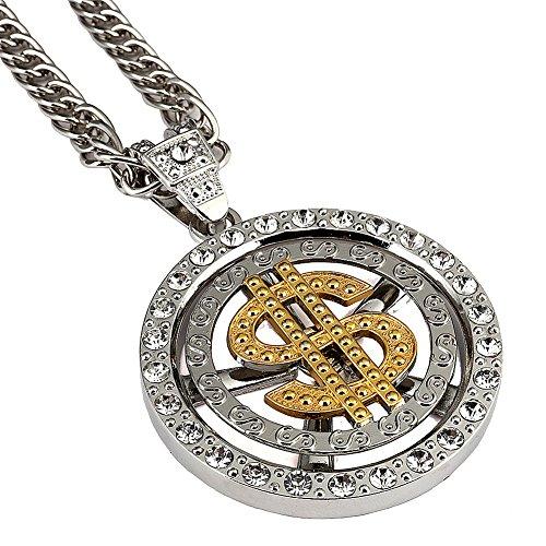 Halskette Bling Kostüm - MCSAYS 18k Gold - amerikanischen hip hop Rapper männer/Frauen US Dollar Geld anhänger Kette 80cm kubanische verbindung Kette schmuck