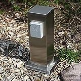 Steckdosensäule mit Flachdach aus Edelstahl | Energiesäule mit 2 spritzwassergeschützten Schutzkontakt-Steckdosen