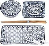 MÄSER, Serie Harbin Sushi Set 7-tlg, Porzellan Geschirr-Set Dekoriert in Den Farben Blau und Weiß, inkl Esstäbchen