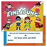 12 Lustige Einladungskarten Set Kindergeburtstag Motiv Superhelden Heroes Party Einladung Geburtstag Emoji Junge Mädchen Kinder