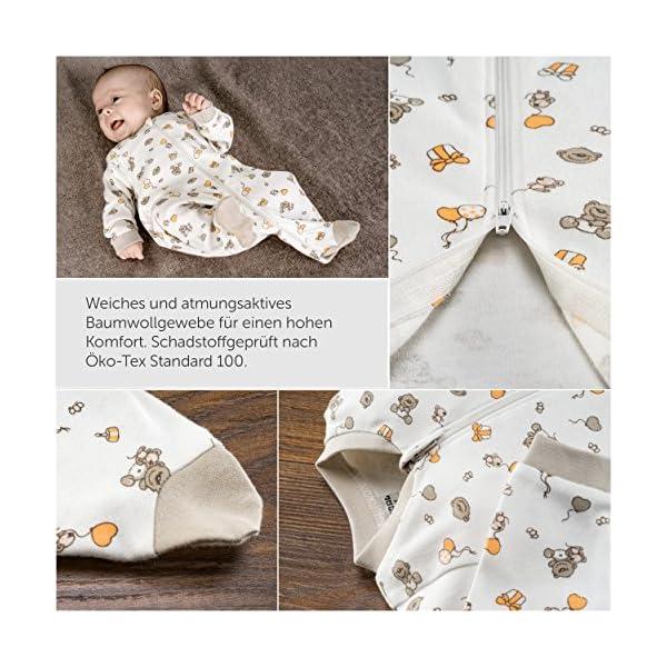 Jacky – Juego de 2 peleles / pijamas de bebé con pies – unisex – 100% algodón – blanco / beige – producto libre de… 2