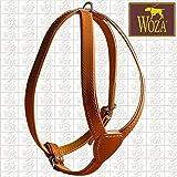 Woza Premium Geschirr FÜR Kleine Hunde 2,1/34CM Vollleder Cognac RINDNAPPA Gepolstert Handmade Harness
