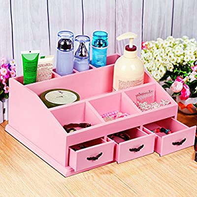Popamazing Wooden Cosmetic Drawers Make Up Brush Cotton Pads Holder Dressing Table Tidy Storage Organiser/Box/Case/Caddy