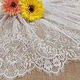 ALE12 Chantilly Spitzenvorhänge für Braut/Hochzeitskleid, Blumenmuster, gewellter Rand, bestickt, 300 x 41 cm, Schwarz/Weiß gebrochenes weiß