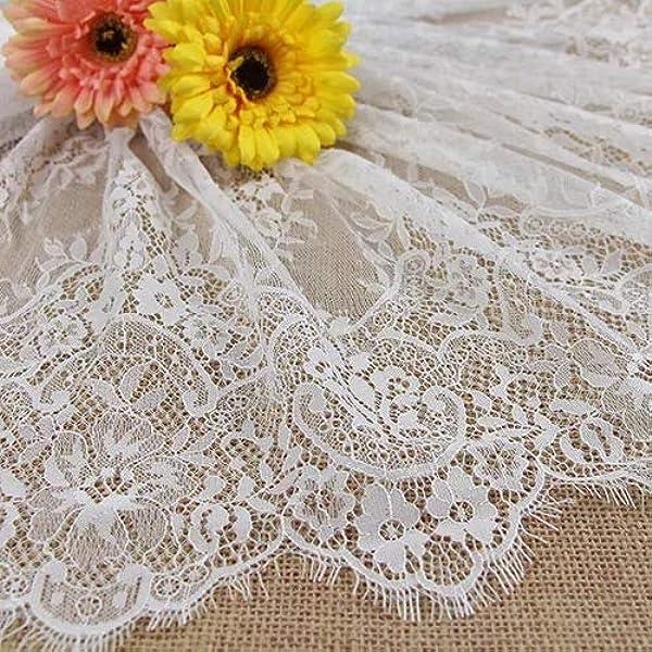 Blanc cass/é Dentelle Chantilly florale pour robe de mari/ée ALE13-300 x 23/cm blanc cass/é