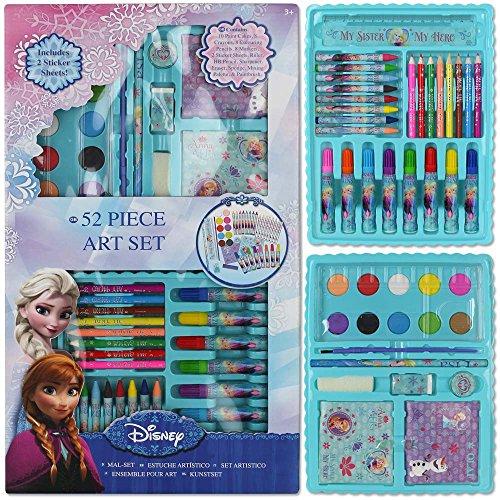 Disney Malset 52tlg. mit Modellauswahl - Malkoffer - Stifteset - Wachsmalstifte (Frozen)