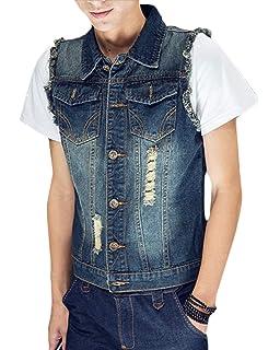 779aa3c64b90 Homme Veste De Gilet en Jean Casual sans Manches Revers Denim Classique  Slim Blouson Vest