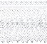 Plauener Spitze by Modespitze, Store Bistro Gardine Scheibengardine mit Stangendurchzug, hochwertige Stickerei, Höhe 60 cm, Breite 96 cm, Weiß