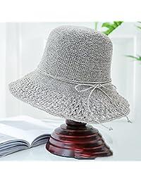 Cappello da sole LHA Cappello Estivo da Donna con Visiera Parasole Cappello  di Paglia Versione Coreana 2e2e4e0a33ae