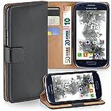 moex Samsung Galaxy S3 Mini | Hülle Dunkel-Grau mit Karten-Fach 360° Book Klapp-Hülle Handytasche Kunst-Leder Handyhülle für Samsung Galaxy S3 Mini S III Case Flip Cover Schutzhülle Tasche