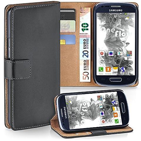 Samsung Galaxy S3 Mini Hülle Dunkel-Grau mit Karten-Fach [OneFlow 360° Book Klapp-Hülle] Handytasche Kunst-Leder Handyhülle für Samsung Galaxy S3 Mini S III Case Flip Cover Schutzhülle