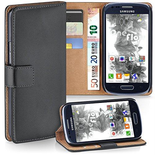 Samsung Galaxy S3 Mini Hülle Dunkel-Grau mit Karten-Fach [OneFlow 360° Book Klapp-Hülle] Handytasche Kunst-Leder Handyhülle für Samsung Galaxy S3 Mini S III Case Flip Cover Schutzhülle Tasche Galaxy S3 Handy Cover Leder