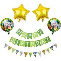 SMARCY Décoration Anniversaire pour Enfants, Thème Jungle, pour Filles et Garçon, Bannière Joyeux Anniversaire Vert…