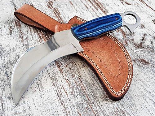 handgemachtes und exclusives T-Rex Folder 'Blue-Edition' Karambit-Messer Honshu-Knive mit Hochglanz polierter Edelstahl Full-Tang Klinge