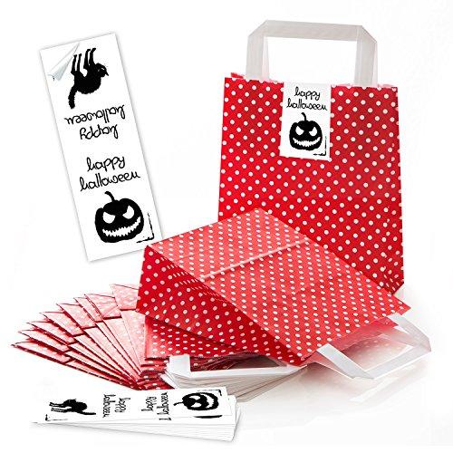 25 kleine rot weiß gepunktete Papiertüten Geschenkbeutel Tüten Verpackung Süßigkeiten 18 x 8 x 22 cm kleine Papiertaschen + 25 Halloween-Aufkleber Kürbis schwarz Geschenkverpackung für Kinder