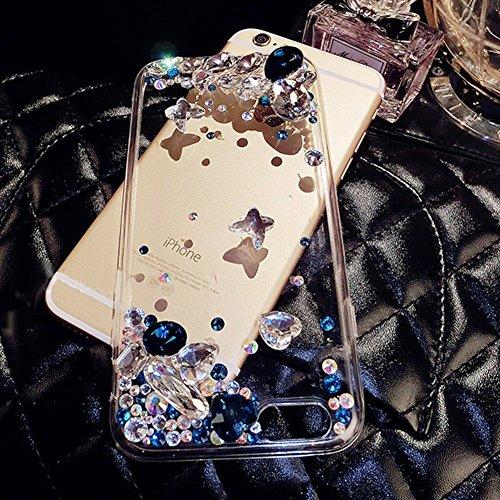 iPhone 4 Case,iPhone 4S Hülle - Felfy Apple iPhone 4/4S Ultra Slim Ultradünn Case Soft Gel Flexibel TPU Silikonhülle mit Bling Sternchen Gradient Farbe Design Protective Scratch Resistant Bumper Case  Strass Blau