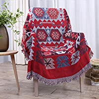 """Eazyhurry 100% Pure Cotton Ethnic Style Woven Throw Blanket Featuring Decorative Fringes Super Soft Sofa Blanket Home Decor for Chair Bed Couch Red 35"""" X 35"""""""