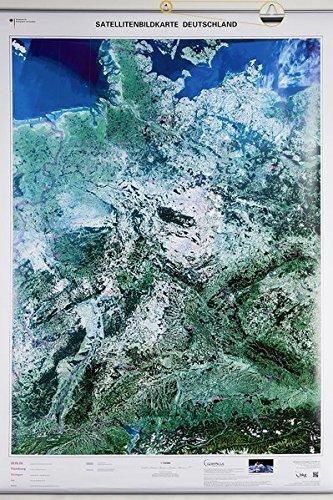 Satellitenbildkarte Deutschland 1 : 750 000: Wandkarte mit Bestäbung und Aufhänger, gerollt im Köcher (Deutschland-Wandkarten 1:750 000)
