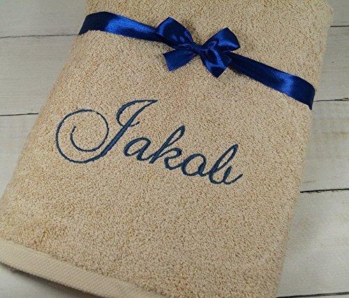 ★ Handtuch mit Namen bestickt ★ 70 x 140 cm ★ Duschtuch ★ Geschenk ★ 550 g/m2 ★ (Beige)