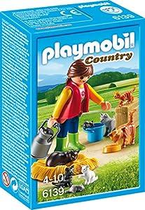 PLAYMOBIL- Mujer con Familia de Gatos, Color, única (6139)