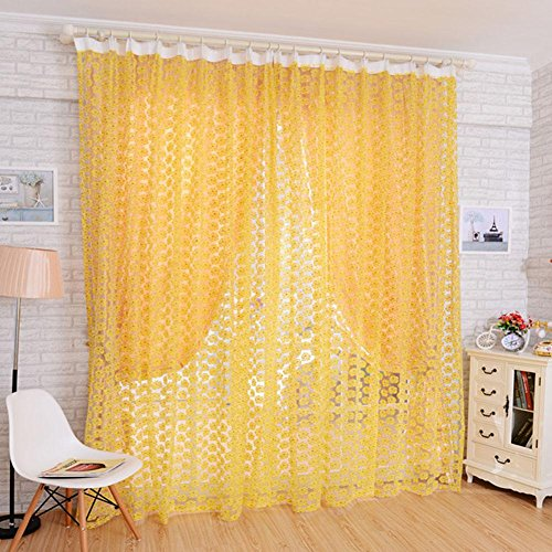 Rose Window Curtains Halbschatten Screens Gaze , yellow , W150*H280cm