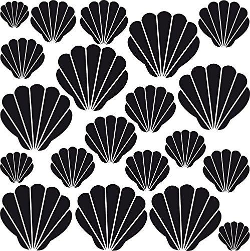 GRAZDesign 300170_57x57_WT070 Wandtattoo Muscheln für Bad | Selbstklebende Klebe-Folie für Wände - Fliesen - Spiegel | Wand-Aufkleber als Set mit 20 unterschiedlichen Muscheln Größen (57x57cm // 070 schwarz)