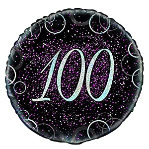 Unique Party Globo foil de 100 cumpleaños Color rosa metálico brillante 45 cm 55802