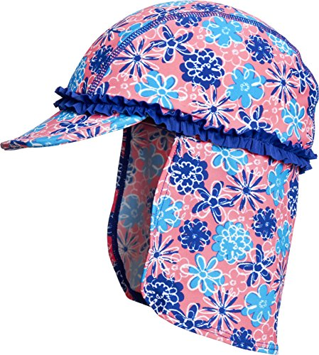 Playshoes Mädchen Mütze Bademütze Veilchen mit UV-Schutz, Mehrfarbig (LACHS 41), Medium (Herstellergröße: 51cm)