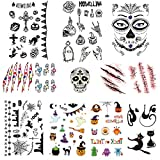 JW-online Halloween Temporäre Fake Tattoos(10 blatt)klebetattoos Kindertattoos, Wasserdicht Sticker Tiere und Geister Gefälschter Scab Blut Kratzer Aufkleber, für Kostüm Makeup und Cosplay
