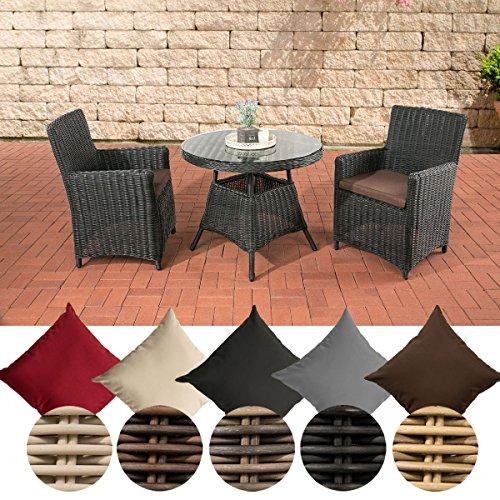 CLP Polyrattan-Sitzgruppe QUITO inklusive Polsterauflagen | Garten-Set bestehend aus einem Beistelltisch mit einer pflegeleichten Tischplatte aus Glas und zwei Sesseln | In verschiedenen Farben erhältlich Rattan Farbe schwarz, Bezugfarbe: Terrabraun